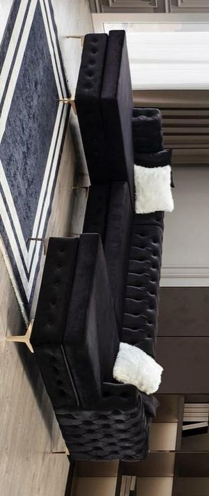 Lydia velvet black double chaise sectional sofa for Sale in Houston, TX