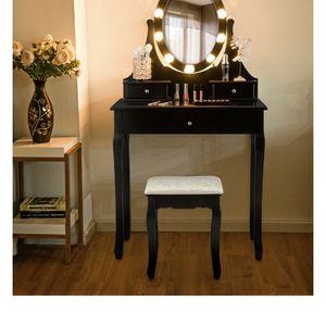 3 Drawers Lighted Mirror Vanity Makeup Dressing Table Stool Set-Black for Sale in Baldwin Park, CA