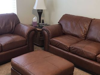 Leather Couch, Loveseat, Ottoman three-piece Set for Sale in Hillsboro,  OR