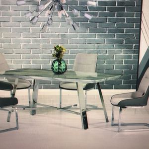 SALE $1150 DINING ROOM SET MARBLE CHROME TABLE + 4 CHAIRS for Sale in Chicago, IL