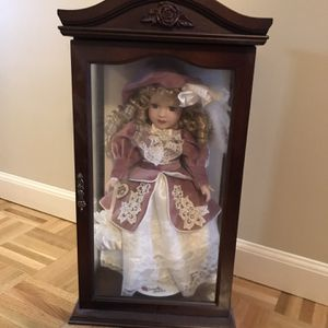 Vintage Collector Doll In Wood Display Case for Sale in Sterling Heights, MI