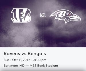 Ravens vs Bengals.. $160 for my two seats section 528 row 20. for Sale in Lancaster, PA
