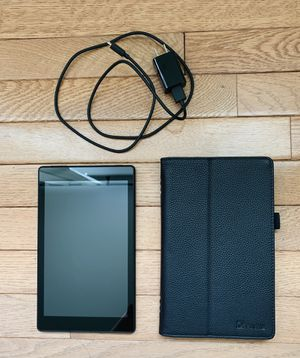 """Amazon Fire HD 8 Tablet (8"""" HD Display, 16GB, black). Includes tablet, original charger, and Fintie Folio Case for Sale in Bridgewater, MA"""