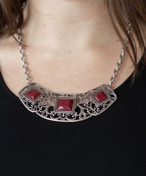 Stunning NEW silver and dark red stone necklace for Sale in Yelm, WA