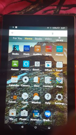 Fire red Amazon tablet cracked right front quarter still works for Sale in Gibsonton,  FL
