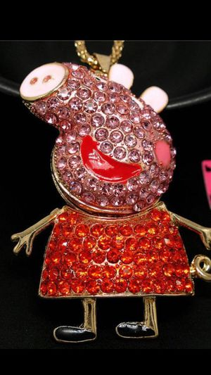 Betsey Johnson designer rhinestone animated cartoon necklace on a gold chain for Sale in Northfield, OH