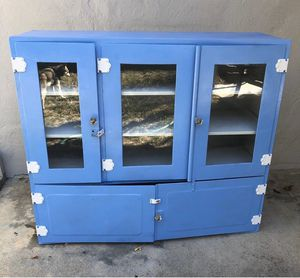 Antique Metal and Glass Hoosier? Medical Apothecary Cabinet for Sale in Menlo Park, CA