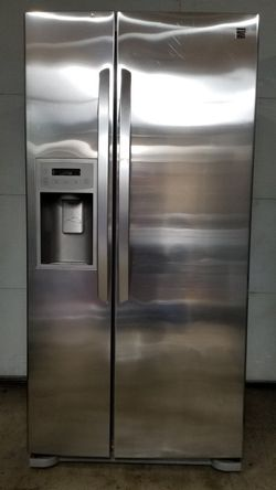 Small Kenmore stainless steel side by side refrigerator with water and ice maker for Sale in Portland,  OR