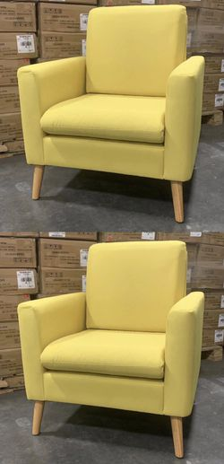 NEW $130 for 2 chairs 29x30x33 Inch Tall Modern Tufted Yellow Color Accent Linen Fabric Upholstered Arm Sofa Single Chair Contemporary Furniture for Sale in Los Angeles,  CA