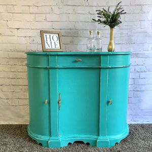 Awesome teal and gold shabby distressed solid wood entryway table side table cabinet drawer shelf for Sale in San Diego, CA
