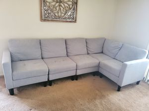 Light Grey Sectional Couch with Storage Ottoman for Sale in Irvine, CA