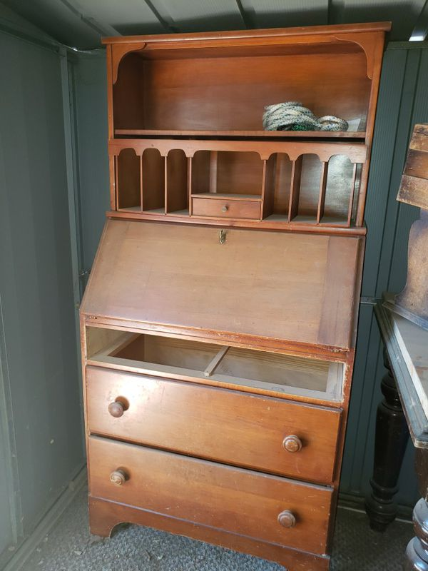 Secretary Desk with Drawer and Shelves Expandable Writing Workstation with Storage Wooden Brown Antique Wood Secretary Desk