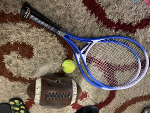 Tennis rackets and football and tennis ball for Sale in Ontario, CA