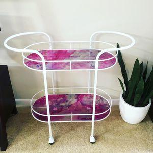 Bar Cart Metal Frame Designer Glass Top for Sale in Germantown, MD
