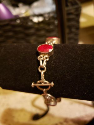 Silver Navajo with coral stone bracelet for Sale in Grand Junction, CO