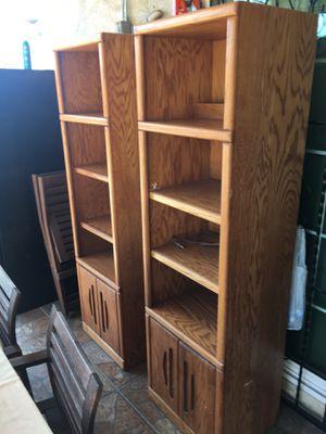 Solid Oak lighted bookshelves for Sale in Pomona, CA
