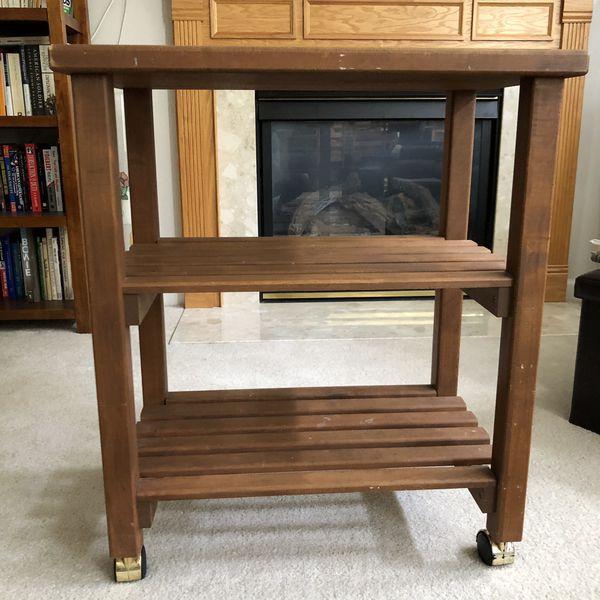 Wood cart 16.75D x 25.75W x 31H