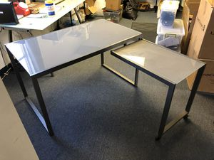 Smokey glass desk with swivel option for Sale in Oakland Park, FL