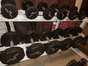 Dumbbells set from 5 lb to 50 lbwith rack and bench. for Sale in Miami, FL