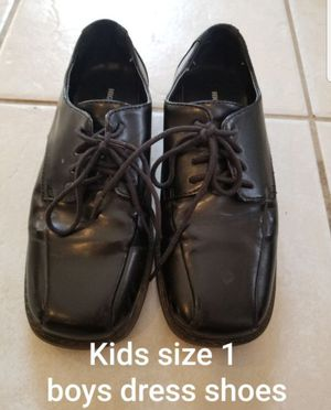 Kids size 1 boys black loafers dress shoes Dress up, wedding, ringboy, Christmas for Sale in Renton, WA