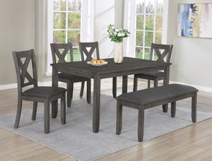 Brand new Dining Room Set. 6 pc. 4 chairs + the Bench + the table. for Sale in Houston, TX