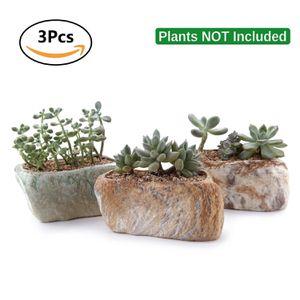 3 New Distinctive Stone Shape Plant Pots for Sale in Hacienda Heights, CA