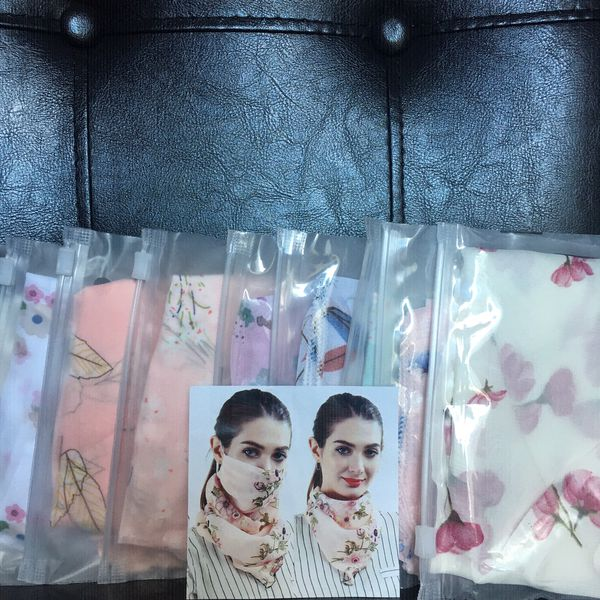 Scarf bandana Face Mask Summers Fasshion Neck Gaiter Reusable washable Lightweight Balaclava Adjustable Breathable Womens Faceshield Floral