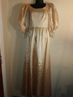 Gold champagne vintage southern belle dress gown size medium m lace champagne for Sale in Takoma Park, MD