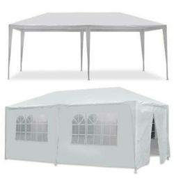 White 10 x 20 ft Outdoor Gazebo Party Tent with 6 Side Walls Wedding, Party for Sale in Corona,  CA