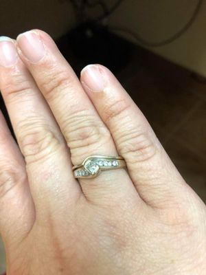 14k white gold princess and round cut diamond wedding ring and band; size 7; retailed at $1400 for Sale in Peoria, IL