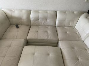 Kane's white /cream leather individual section couch for Sale in Ocoee, FL