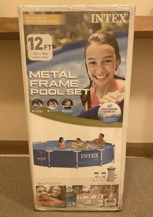 """Intex 12' x 30"""" Metal Frame Round Above Ground Swimming Pool with Filter Pump for Sale in Lawrenceville, GA"""