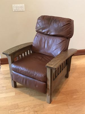 Leather Recliner, Solid Oak frame for Sale in Encinitas, CA