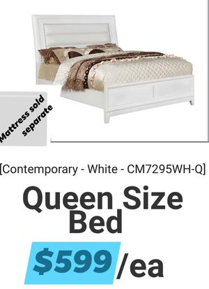 $599 WITHE CONTEMPORARY QUEEN BED FRAME ONLY MATTRESS SOLD SEPARATE for Sale in Chino, CA