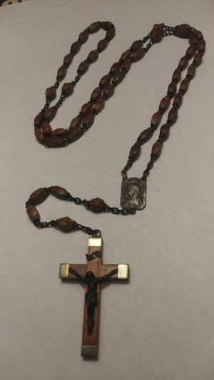 """Vintage Wooden Rosary Beads **25.00 Firm** Jesus and Lourdes Made in France 21"""" Long for Sale in Orlando, FL"""