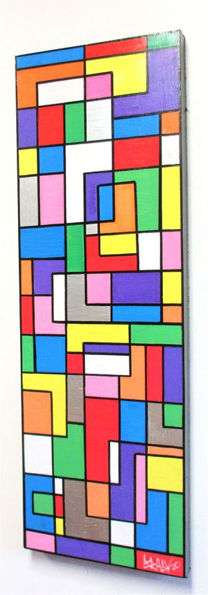 "36""x12"" ORIGINAL SIGNED DE STIJL PAINTING. STRETCHED CANVAS & READY TO HANG. BRACKETS APPLIED ALLOWING PAINTING TO HANG EITHER WAY! for Sale in Cincinnati, OH"