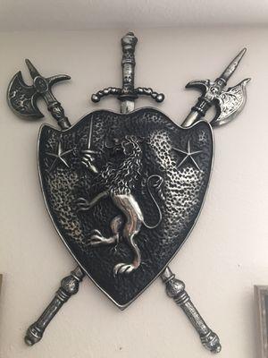 Scottish Fighting Lion Crest Shield Swords Cast Aluminum Coat Of Arms Medieval for Sale in Toledo, OH