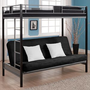 DHP Silver Screen Metal Bunk Bed with Ladder, Black, Twin for Sale in Lemont, IL