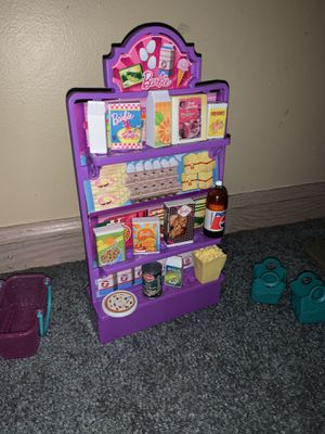 Barbie doll house 17 accessories lot, food pretend grocery store for Sale in Columbus, OH