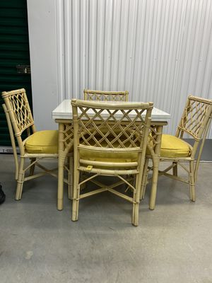 Vintage or Mid Century Bamboo Flip Top Dining Table & 4 Chairs for Sale in McLean, VA