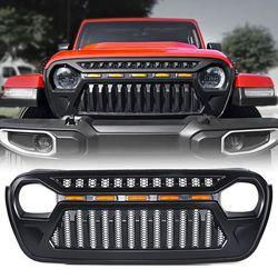 Xprite Black Gladiator Grille with Amber LED Running Lights for 2018-2021 Jeep Wrangler JL JT for Sale in Fullerton,  CA
