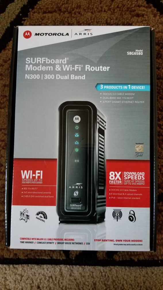 Motorola Modem and Wi Fi Router