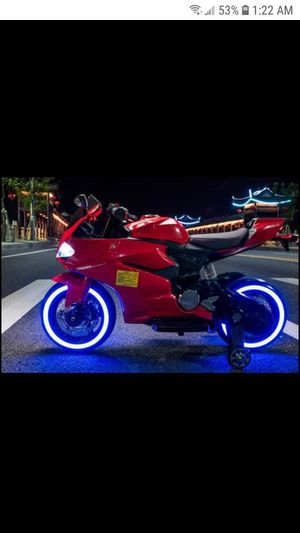 New 12v kids boys girls electric ride on motorcycle rideon bike with custom lights power wheel for Sale in Houston, TX