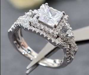 Fantastic Jewelry Natural Gemstone 8.9CT Princess Cut White Sapphire Diamond 925 Solid Sterling Silver Wedding Anniversary Ring Set. Size 7&8 for Sale in March Air Reserve Base, CA