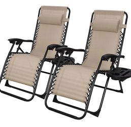 New Outdoor Adjustable Zero Gravity Lounge Chair Folding Out Door Reclining Chairs for Deck, Patio, Beach, Yard, Pool, w/Utility Tray -Set of 2- Beig for Sale in Whittier,  CA