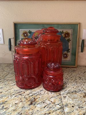 Vintage red glass lidded jars for Sale in West Richland, WA