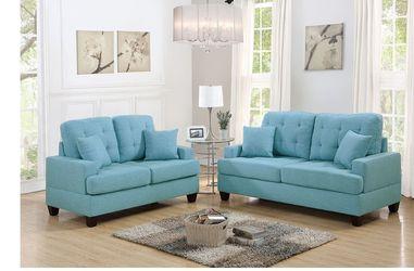 2 PCS SOFA SET BLUE NEW IN BOX FINANCIAMIENTO DISPONIBLE for Sale in Fullerton,  CA