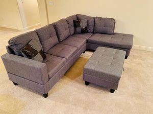 New!! Gray sectional sofa set w/ Storage Ottoman • Apply from your phone • Free Financing ✔️ for Sale in Las Vegas, NV
