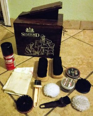 Stafford collection shoe shine box harley used most products are new price is firm for Sale in Pomona, CA