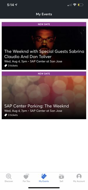 The Weeknd Tickets For San Jose SAP Center for Sale in Sunnyvale, CA